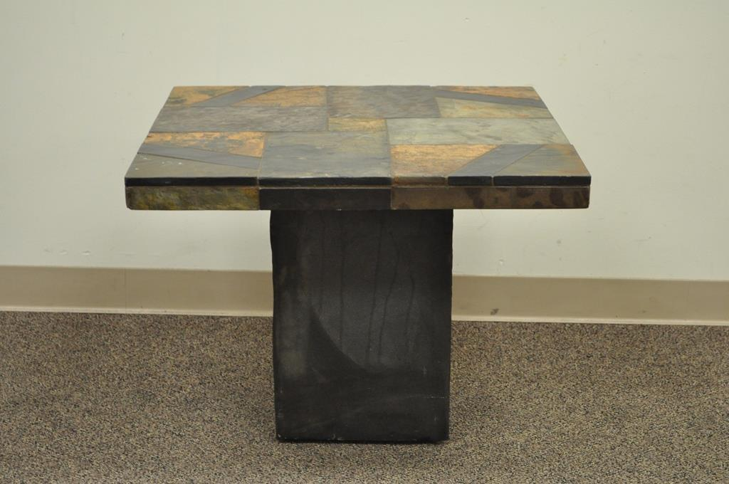 Contemporary South African Slate Inlaid Square Lamp Side End Table  Decorator   Image 4 Of 12