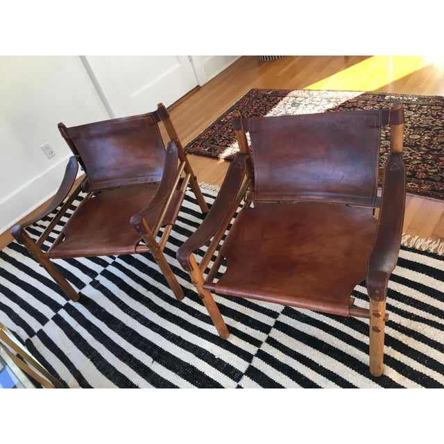 Danish Modern Vintage Mid Century Arne Norell Scirocco Leather Chairs- A Pair For Sale - Image 3 of 3