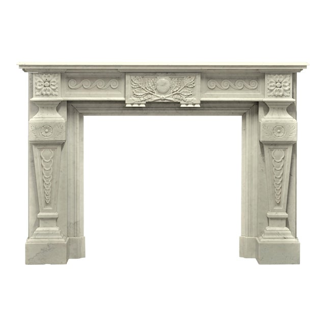 Very Rich Carved White Marble Louis XVI Fireplace For Sale