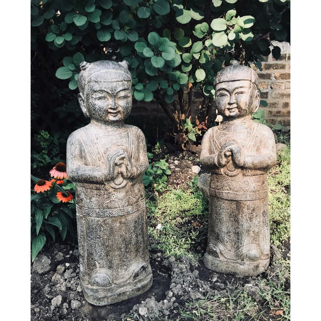 1970s Asian Style Carved Stone Garden Statues - a Pair For Sale - Image 5 of 5