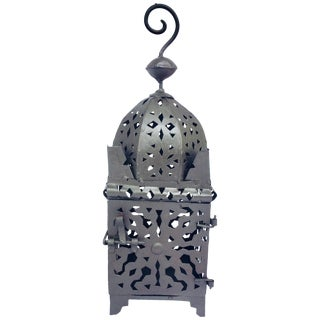 Moroccan Hurricane Metal Candle Lantern Indoor or Outdoor For Sale