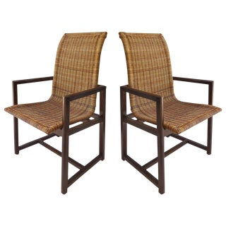Vintage High Back Beech and Woven Wicker Arm Chairs - a Pair For Sale