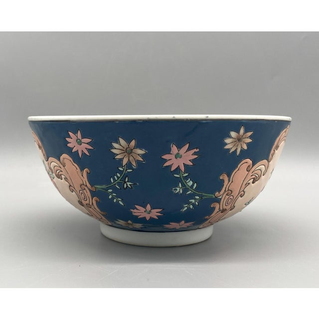 20th Century Chinese Blue and Pink Floral Bowl/ Catchall For Sale In Houston - Image 6 of 11