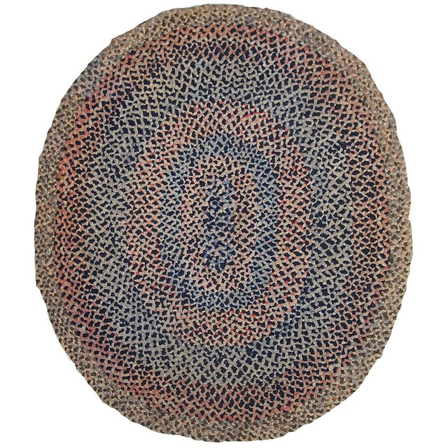 1920s handmade antique American braided rug 2.5' x 2.9' For Sale - Image 10 of 10