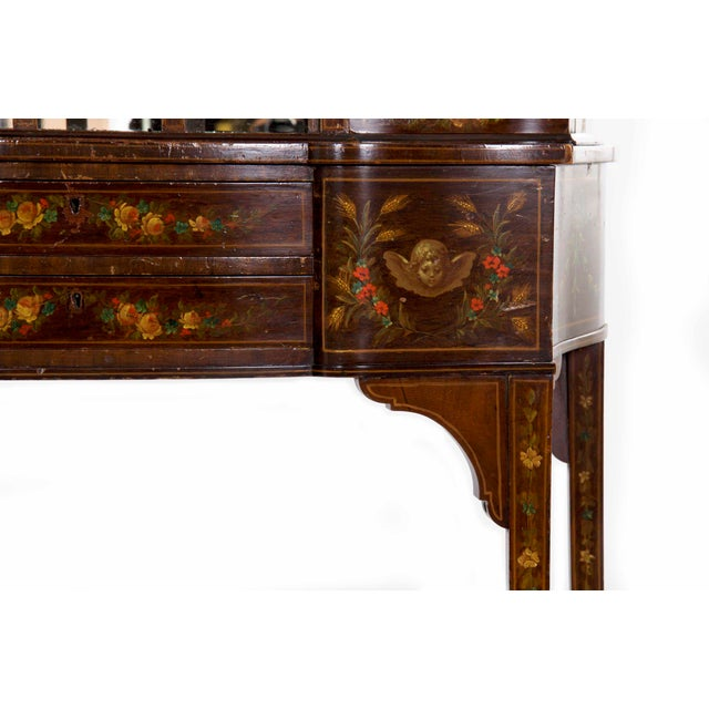 Red Edwardian Classical Painted Antique Console Cabinet Circa 1860-80 For Sale - Image 8 of 13