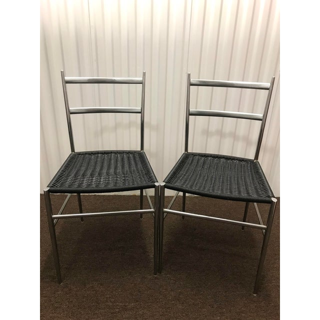 "Metal 1960s Gio Ponti Style ""Superleggera"" Chairs - a Pair For Sale - Image 7 of 7"