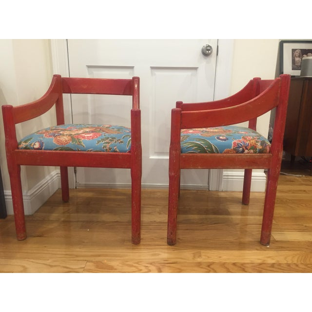 1960s 1960s Vintage Red Carimate Chairs by Vico Magistretti for Cassina- A Pair For Sale - Image 5 of 11