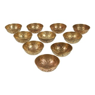 Set of Ten Antique Middle Eastern Brass Magic Bowls For Sale