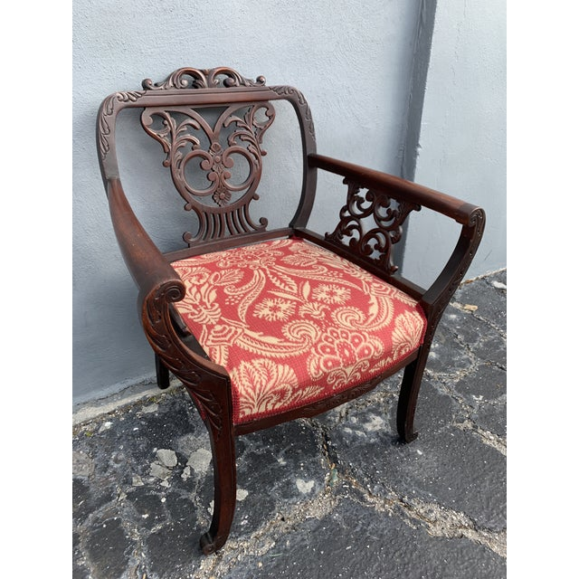 Antique Jacobean accent chair. Recently reupholstered, in mint condition, in the style of a Bishop's chair. Something very...
