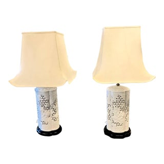 Pair of Italian Chinoiserie Reticulated Lamps