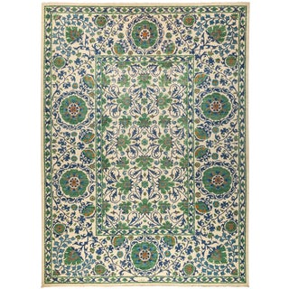 "Suzani Hand Knotted Area Rug- 10' X 13'4"" For Sale"