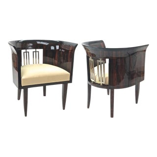 Gio Ponti Rarest Art Deco Pair of Arm Chair With Silver Bronze Back Insert. For Sale