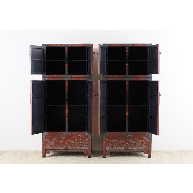Chinese Chinese Polychrome Decorated Compound Dragon Cabinets - a Pair For Sale - Image 3 of 13