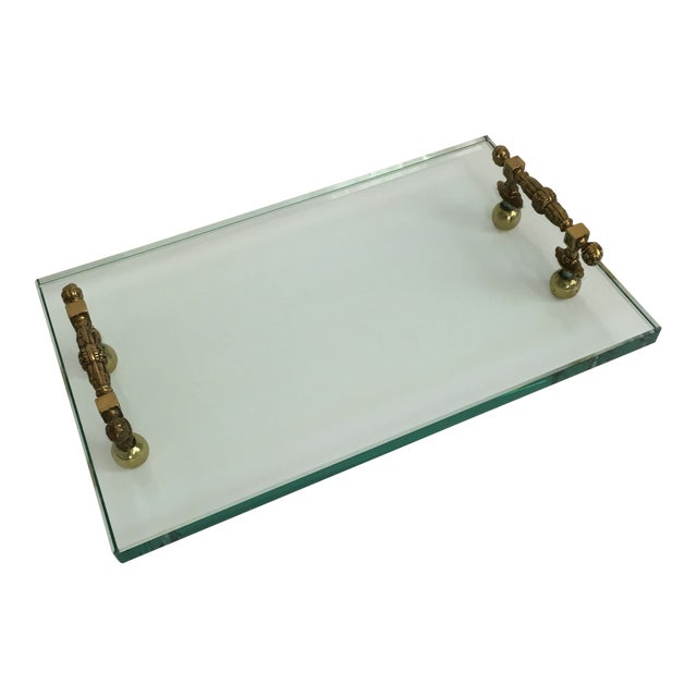 Late 20th Century Hollywood Regency Glass and Brass Tray For Sale