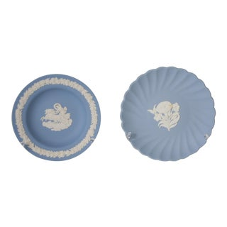 Vintage Wedgewood Blue Jasperware Small Plates or Trays - a Pair For Sale