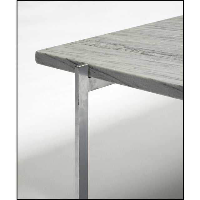 PK 61 coffee table with frame in chromed steel and square top in flintrolled Cipollino marble. Designed by Poul Kjaerholm...