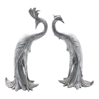 Art Deco Silver-Plated Peacocks, Made by Weidlich Brothers - a Pair For Sale