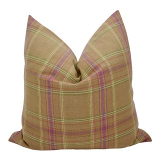 """Jane Shelton """"Buckley Plaid"""" 21"""" Square Wool Down/Feather Pillow For Sale"""