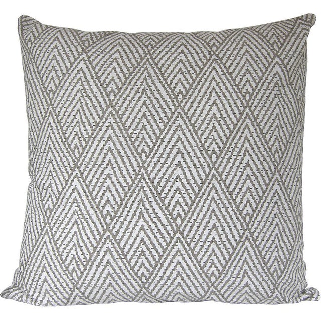 Boho Chic Tahitian Stitch Brown Custom Pillow Cover For Sale - Image 3 of 3