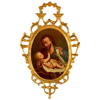 Spanish Religious Reverse Painting Saint Joseph With the Christ Child For Sale