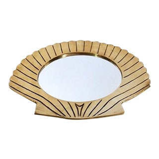 Vintage Art Deco / Hollywood Regency Brass Clam Shell Mirrored Tray For Sale