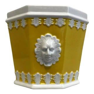 Vintage Mottahedeh Porcelain Lemon Yellow & White Cachepot For Sale