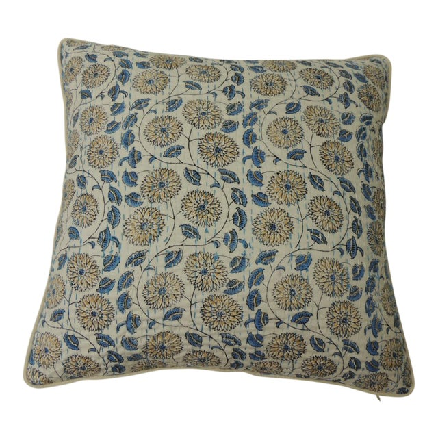 """Indian Quilted """"Lotus"""" Decorative Pillows For Sale"""