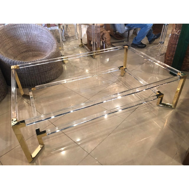 Vintage Hollywood Regency Geometric Brass and Lucite Two Tier Glass Cocktail Table For Sale - Image 12 of 12