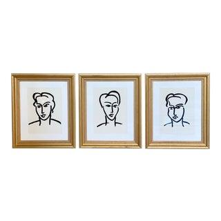 1990s Henri Matisse Style Framed Portrait Series - Set of 3 For Sale