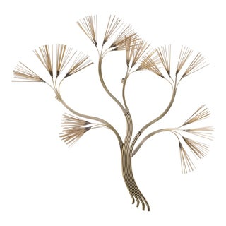 Brass Tree Branch Wall Sculpture by Curtis Jere For Sale