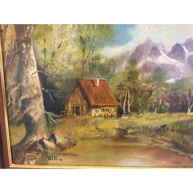 1970s 1972 Hudson Valley Mountain Cabin Oil Painting For Sale - Image 5 of 7