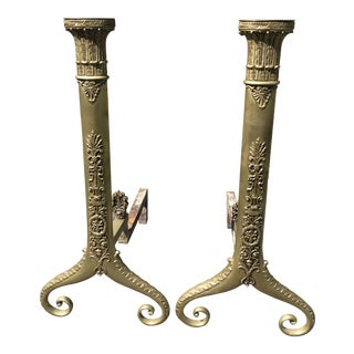 Vintage Neoclassical Andirons - a Pair For Sale