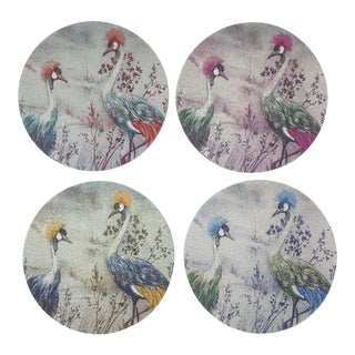 Crested Crane Coasters, Set of 4 For Sale