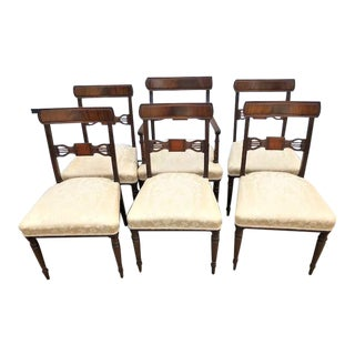Regency Style Inlaid and Carved Mahogany Dining Chairs - Set of 6 For Sale