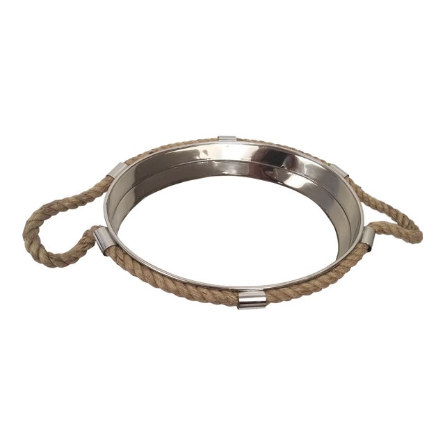 Nautical Style Rope Handled Nickel Plated Tray For Sale