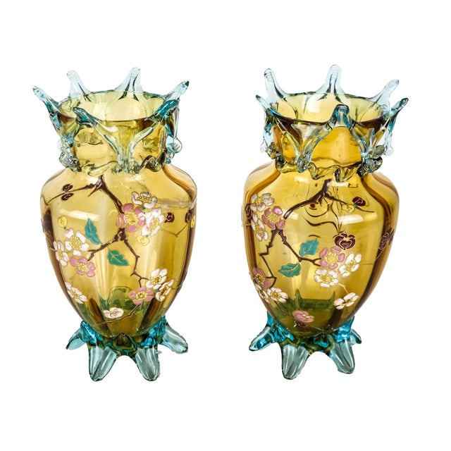 Amber Mid 20th Century Large Amber Glass Vases With Cherry Blossom Relief - a Pair For Sale - Image 8 of 8