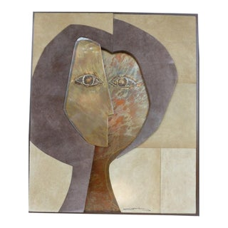 1970's Paul Evans Era Copper Cubist Face With Suede Surround Wall Art For Sale