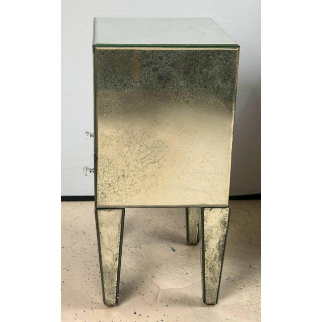 Petite Antiqued Mirrored Nightstands - A Pair - Image 7 of 7