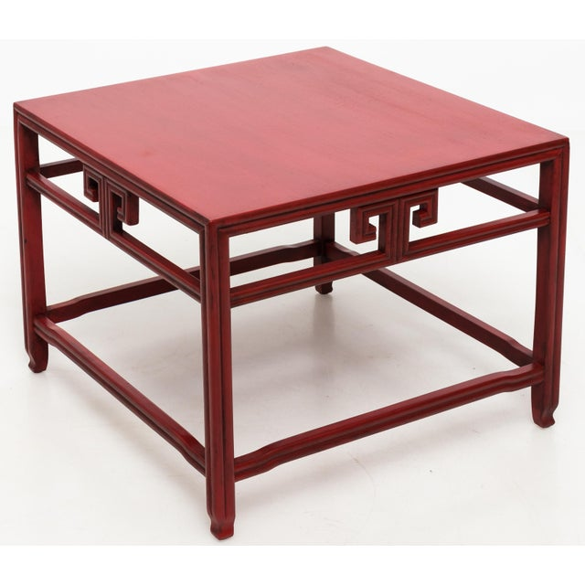 Baker Furniture Company Michael Taylor for Baker Far East Red Occasional Table For Sale - Image 4 of 9