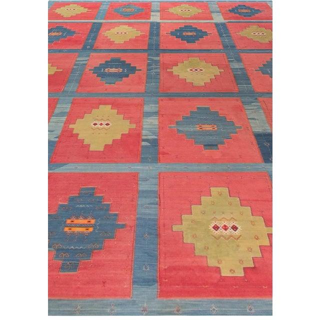 Blue, Pink and Sandy Beige Vintage Turkish Kilim Rug For Sale - Image 4 of 9