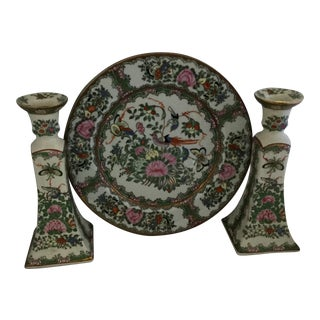 Chinese Decorative Porcelain Plate and Matching Candelabras - 3 Pieces For Sale