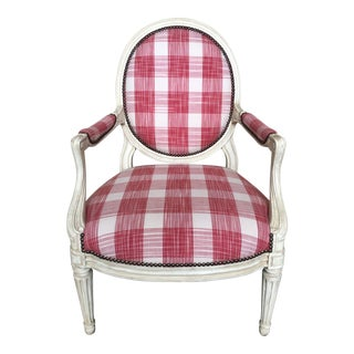 Minton-Spidell Red & White Plaid Upholstered Bergère Chair For Sale