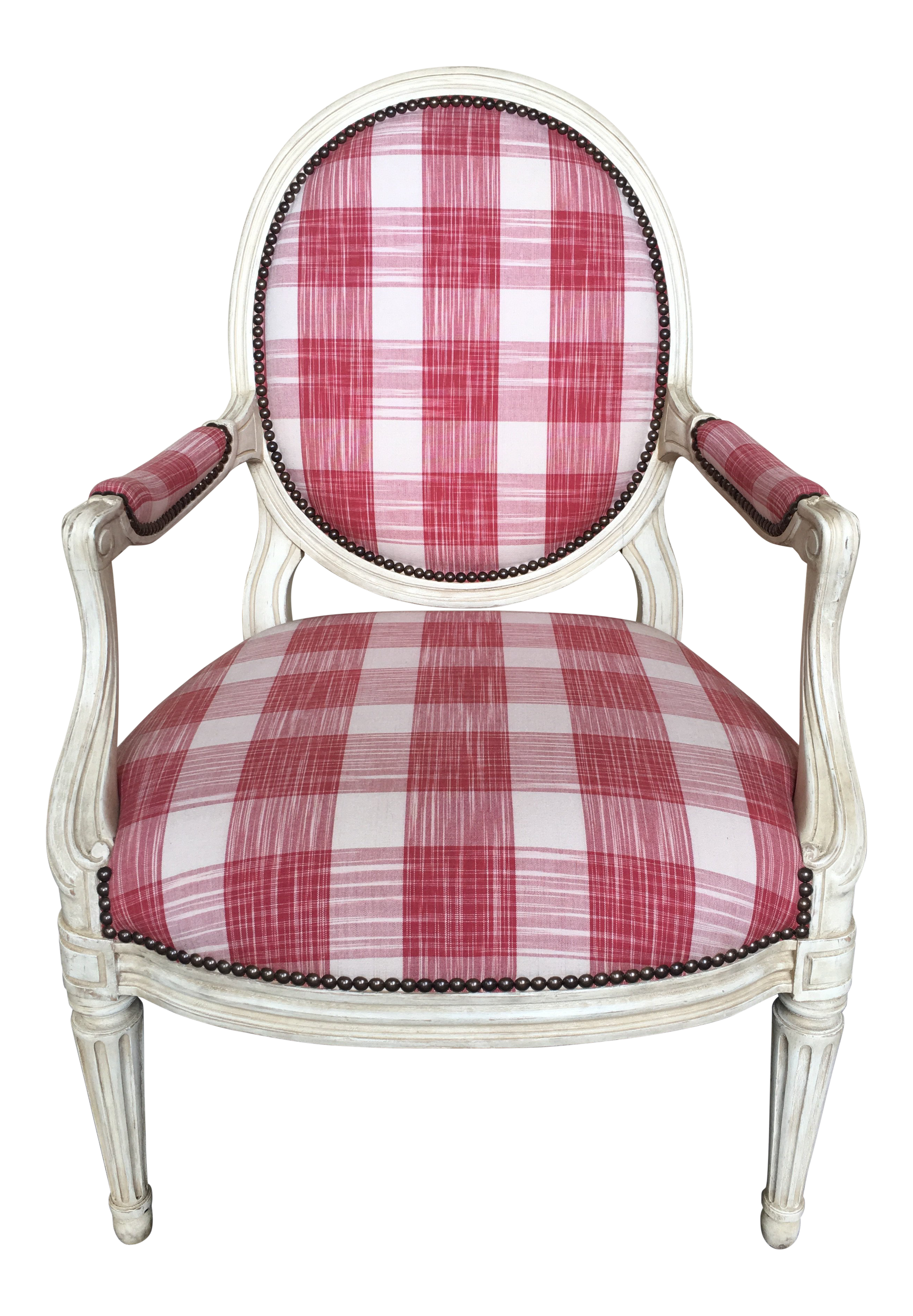 Minton Spidell Red U0026 White Plaid Upholstered Bergère Chair