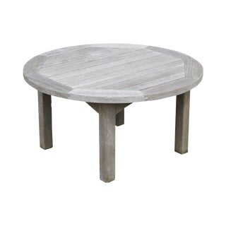 Country Casual Solid Teak Round Outdoor Coffee Table For Sale
