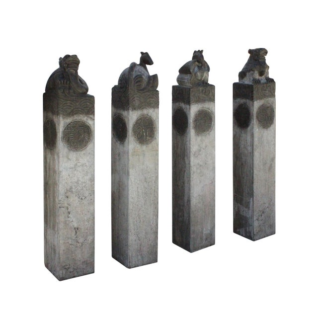 Chinese Set Gray Black Color Stone Fengshui Four Symbols Tall Slim Pole Statue For Sale - Image 4 of 10