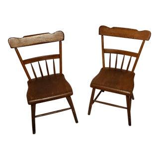 Antique Primitive Oak Chairs- A Pair For Sale