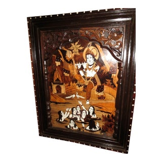 Orientalist Woodcut with Ivory Inlay For Sale