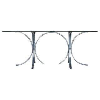 Vintage Tubular Chrome & Glass Dining Table