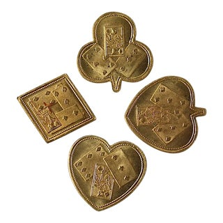 Victorian Brass Card Game Coin Tokens - Set of 4 For Sale