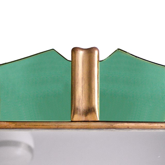 1950´s Large Mirror, Green Mirrors Frame and Golden Leaf Wood - Italy For Sale - Image 4 of 8
